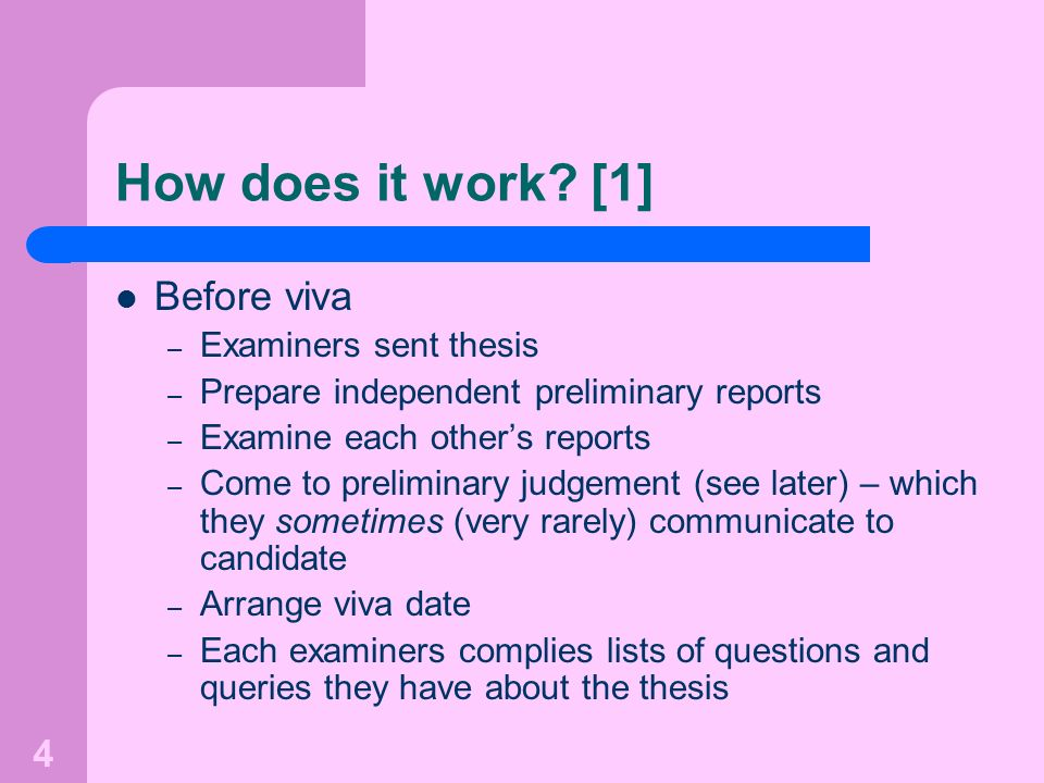 How does it work [1] Before viva Examiners sent thesis